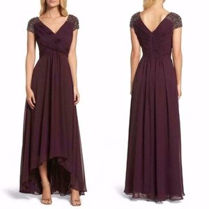 ELIZA Plum Embellished PLEATED Chiffon HI-LO GOWN